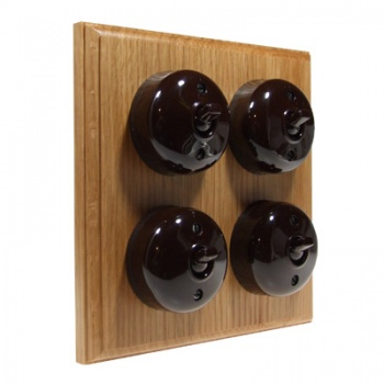 4 Gang Bakelite Switch - Unfinished Oak